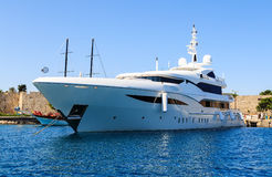 Luxury yacht in the Dodecanese island of Rhodes, Greece. Royalty Free Stock Images