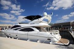Luxury Yacht at Dubai Festival City Stock Photos