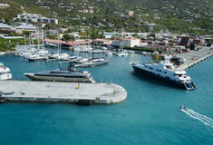Luxury yacht entering the marina at St.Thomas stock image