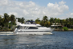 Luxury yacht on a Florida waterway stock photography
