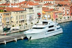 Luxury yacht at Giudecca canal in venice Stock Images