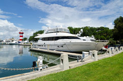Luxury yacht in harbor Stock Images