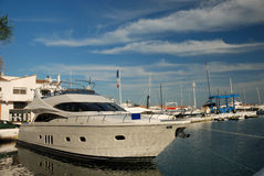 Luxury yacht in the harbor Royalty Free Stock Photo