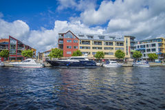 Luxury yacht in the harbor of halden, blue charm Royalty Free Stock Photo