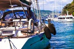 Luxury yacht in harbour of Portofino, Italy stock photos