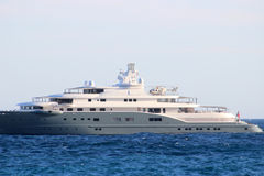 Luxury Yacht with Helicopter on the Deck Royalty Free Stock Image