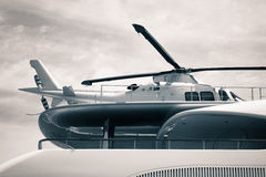 Luxury yacht with helicopter detail Royalty Free Stock Images