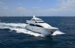 Luxury yacht with horizon line stock photo