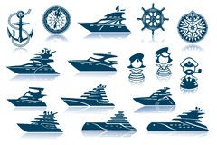 Free Luxury Yacht Icon Set Royalty Free Stock Images - 19931009