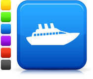 Luxury yacht icon on square internet button Royalty Free Stock Photography