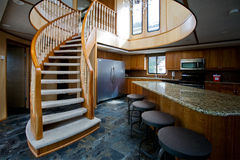 Luxury yacht interior. A luxury yacht interior - kitchen and second floor Royalty Free Stock Images