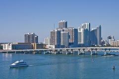 Luxury Yacht Leaving Miami Harbor Stock Image