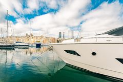 Luxury yacht in Malta marina. Wealthy lifestyle and holiday Royalty Free Stock Images