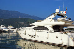Luxury yacht in marina. Sunny summer day, Mediterranean sea Royalty Free Stock Images