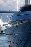 Luxury Yacht in Marina. Detail of Private luxury mega-yacht in a marina Stock Photos