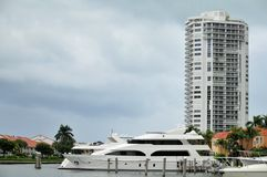 Luxury yacht in marina Stock Photos