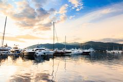Luxury yacht marina. Port in Mediterranean sea at sunset. Stock Photography