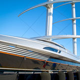 Luxury Yacht in Marina. View of Private luxury mega-yacht in a marina Stock Photography
