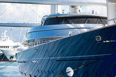 Luxury Yacht in Marina. View of Private luxury mega-yacht in a marina Royalty Free Stock Photography