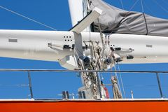 Luxury yacht with mast and rigging in Dutch harbor Lauwersoog stock photo
