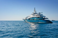Luxury yacht. In the Mediterranean Sea, near the island of Ibiza royalty free stock photography