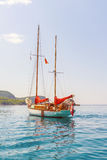 Luxury yacht is in the Mediterranean Sea off the coast of Montenegro, anchored on  clear sunny day Royalty Free Stock Images