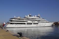 Luxury yacht moored on harbor Stock Photos