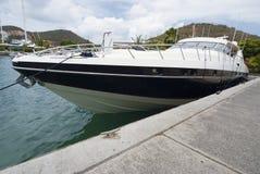 Luxury yacht moored at St.Thomas Stock Image