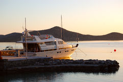 Luxury yacht in morning sunlight Royalty Free Stock Photography