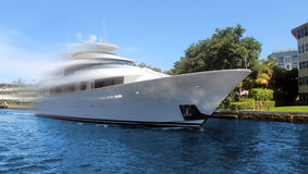 Luxury yacht in motion. Luxury and modern yacht in motion Stock Image
