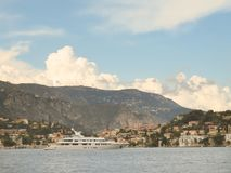 Luxury yacht near Villefranche-sur-Mer, Cote d`Azur, French Riviera stock images