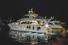 Luxury yacht at night Royalty Free Stock Photography