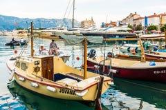 Luxury yacht off the coast of the Mediterranean Budva in Montenegro Stock Photography