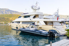Luxury yacht off the coast of the Mediterranean Budva in Montenegro Royalty Free Stock Photography
