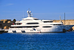 Luxury yacht at the old town in rhodes Stock Image