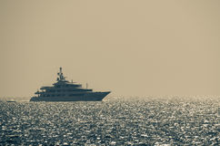 Luxury Yacht On Glittering Sea Stock Photography