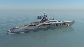 Luxury yacht in the open sea. Computer generated 3D illustration with a luxury yacht Royalty Free Stock Images