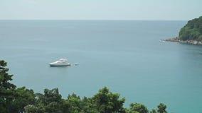Luxury yacht in Phuket bay, Thailand. Clip stock footage
