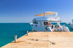 Luxury yacht at the pier of Red Sea. In Egypt Royalty Free Stock Photos