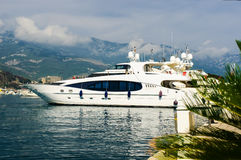 Luxury yacht in port. Stock Image
