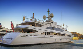 Luxury yacht in port Stock Photo