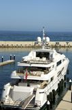 Luxury yacht in Port Forum Barcelona Royalty Free Stock Photo