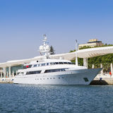 Luxury Yacht at port of Malaga, Andalusia, Spain. Royalty Free Stock Photography