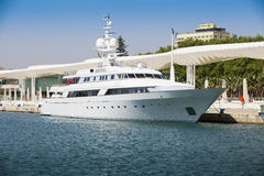 Luxury Yacht at port of Malaga, Andalusia, Spain. Royalty Free Stock Images