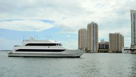 Luxury yacht in Miami, Florida. royalty free stock photography