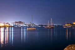 Luxury yacht in the port at night Stock Photo