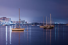 Luxury yacht in the port at night Royalty Free Stock Photo