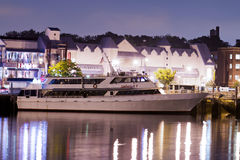 Luxury yacht in the port at night Stock Photos