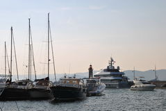 Luxury yacht in the port of Saint-tropez. Yacht in the port of Saint-tropez on a clear summer day Stock Photography
