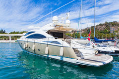 Luxury yacht at the port. Royalty Free Stock Image